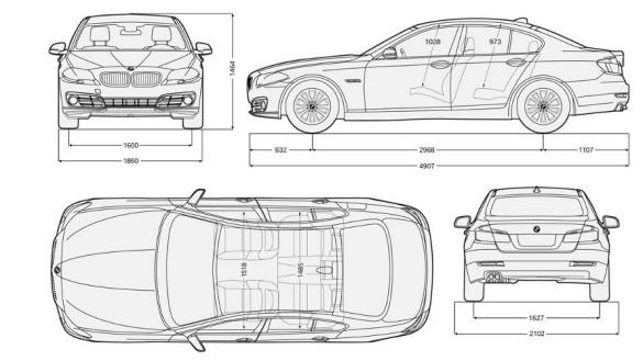 bmw series 5 มิติตัวรถ