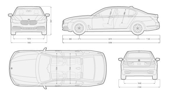 bmw series 7 มิติตัวรถ